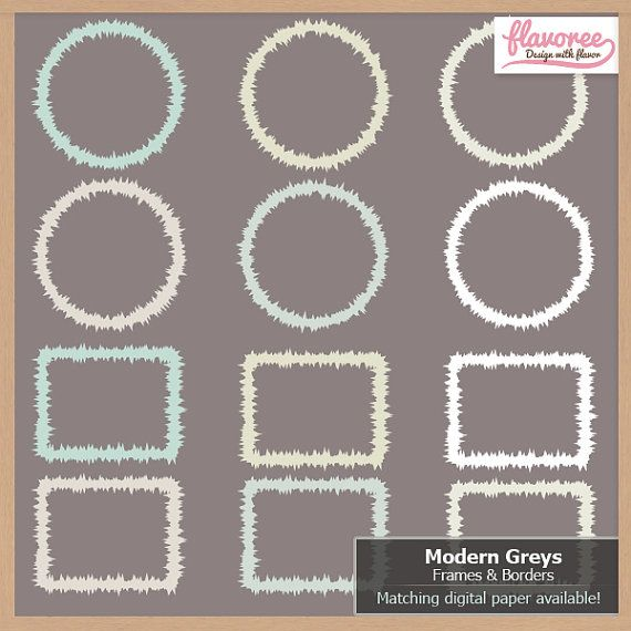 50% OFF - MODERN GREYS - Frames and Borders  Digital by Flavoree, $2.00