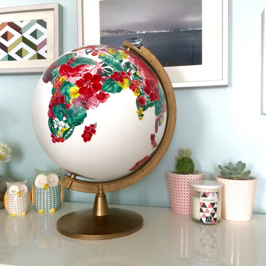 diy recycler un globe terrestre en urne de mariage. Black Bedroom Furniture Sets. Home Design Ideas