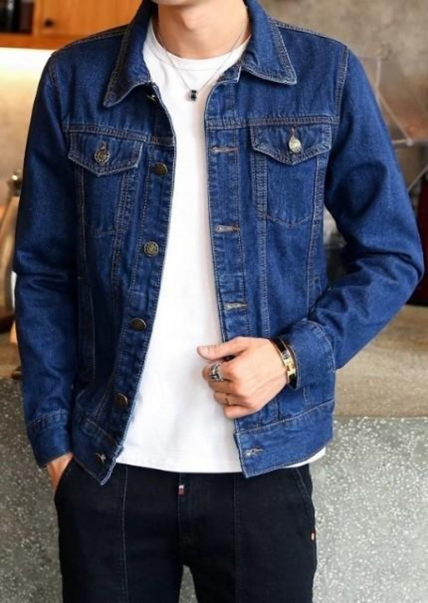 Men Classic Dual Pocket Denim Jean Jacket In 2021 Jean Jacket Men Jean Jacket Outfits Men Denim Jacket Men [ 1196 x 850 Pixel ]