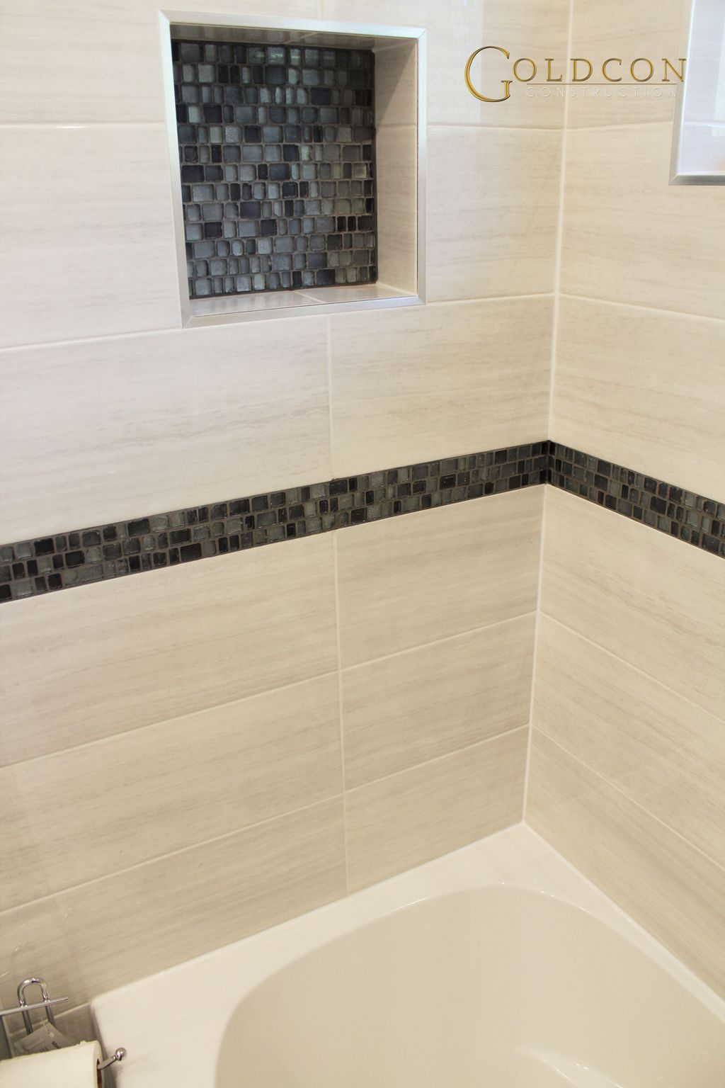 Mid america tile elk grove village - Beautiful Bathroom Renovation Project Featuring 8 X 20 Wall Tiles 12 X