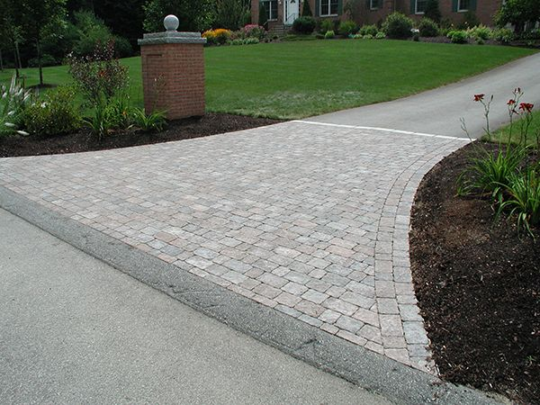 Driveways With A Apron Curve Every Paver Driveway By Al S Masonry Starts With The Proper Base Of Driveway Landscaping Paver Driveway Brick Driveway