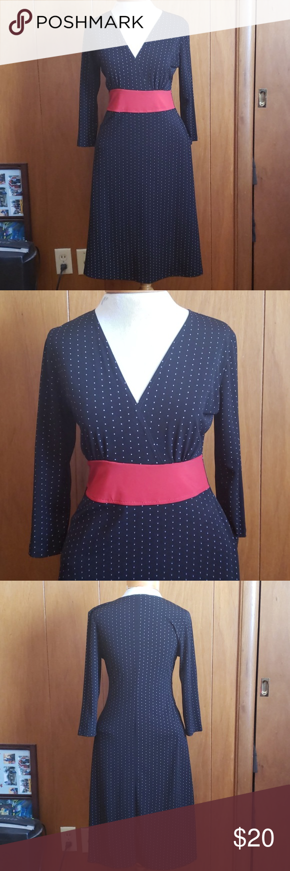 3/4 sleeved V-Neck dress, small This is black with white polka dot and a beautiful pop of red.  Size...