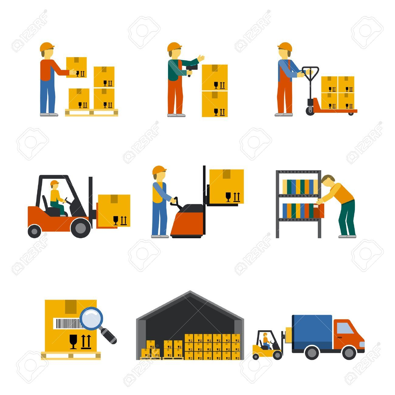 Stock Vector Packers, movers, Flat illustration