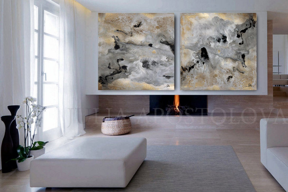 Huge Wall Art Gold Leaf Painting Set Of 2 Wall Decor Gold Leaf Abstract Textured Large Art Luxury Prints Glam Wall Art By Julia Apostolova In 2020 Huge Wall Art Glam