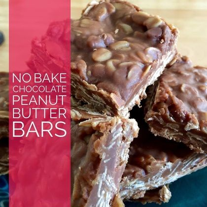 Recipe:  No Bake Chocolate Peanut Butter Bars  http://www.twohensandtheirchicks.com/recipe-no-bake-chocolate-peanut-butter-bars.html