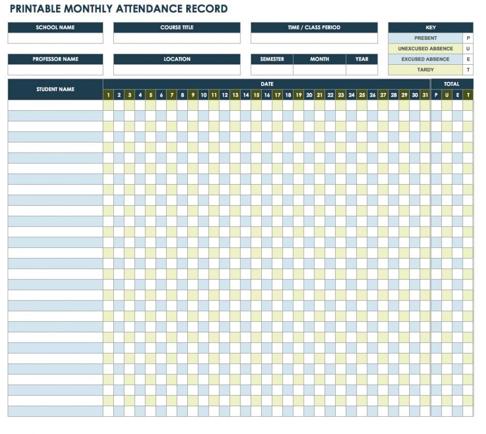 Free Attendance Spreadsheets And Templates Smartsheet Attendance Sheet Attendance Sheet Template Printable Chart