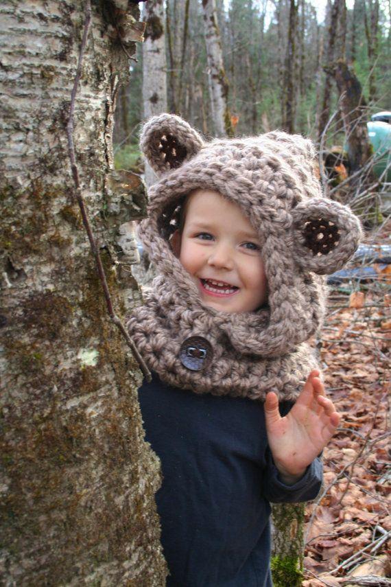 Chunky Bear Hooded Cowl PATTERN - Bear Hat CROCHET PATTERN - Teddy ...