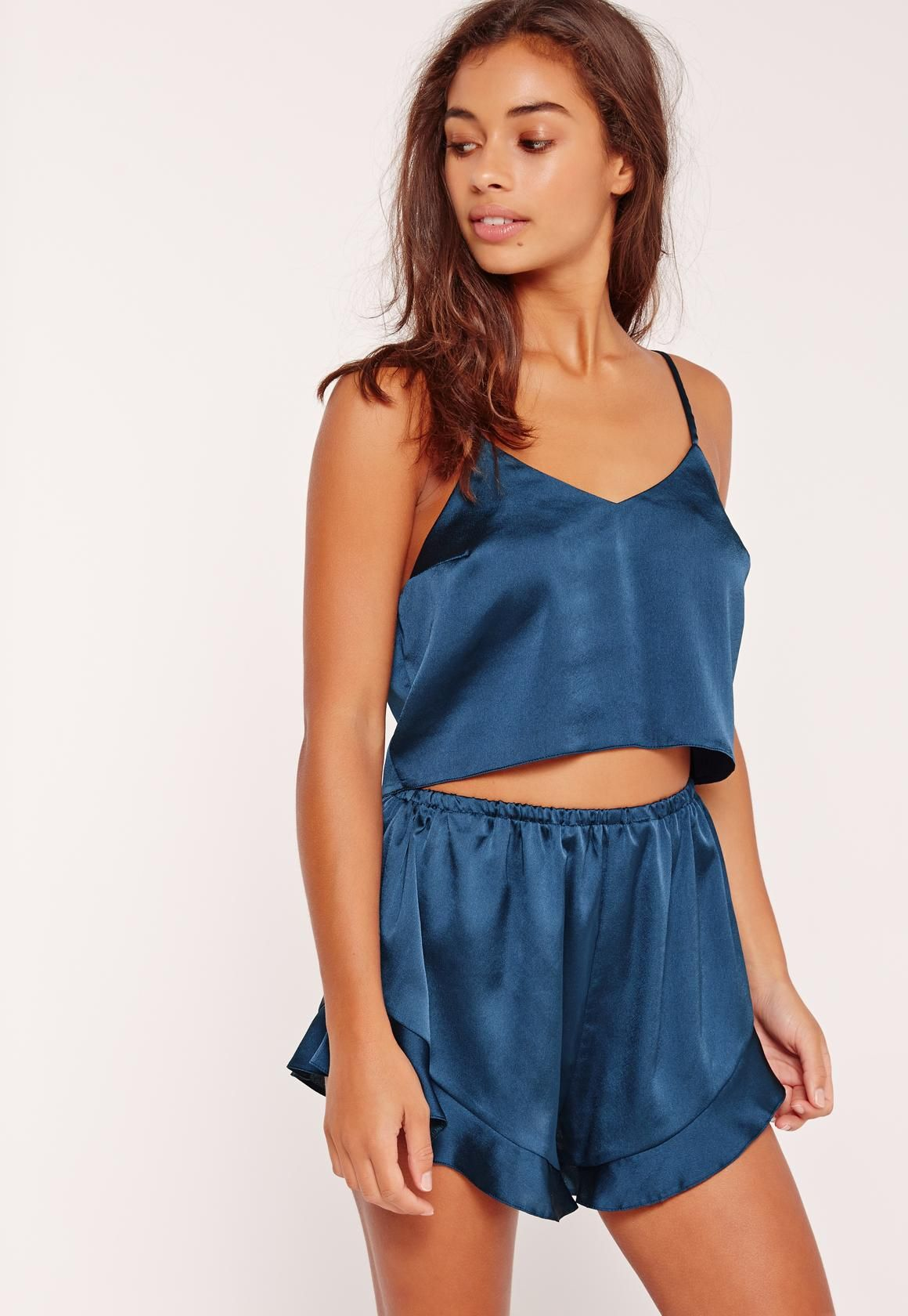 1fafbbe0ea Missguided - Blue Cropped Cami Pajama Set