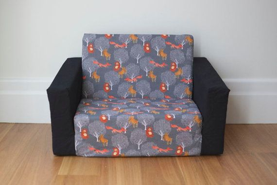 Kids Flip Out Sofa Cover Grey Woodlands Fox Moose Bear Print