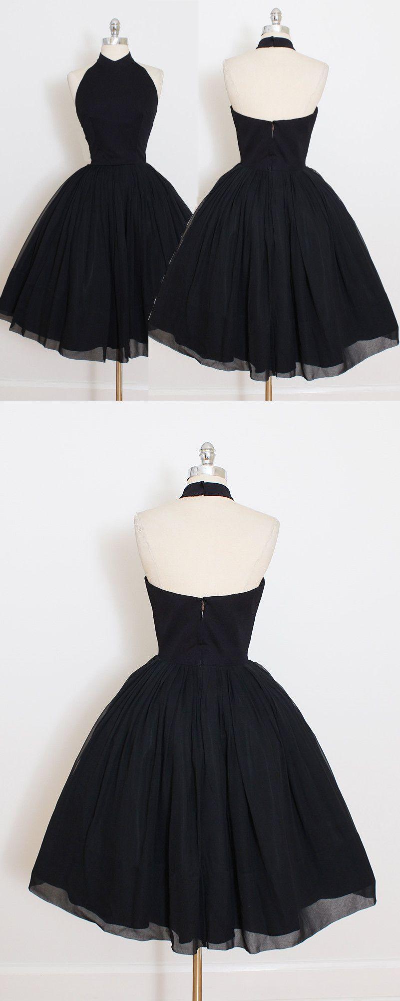 Vintage Short Black Chiffon Knee Length Short Prom Dress Party Dress