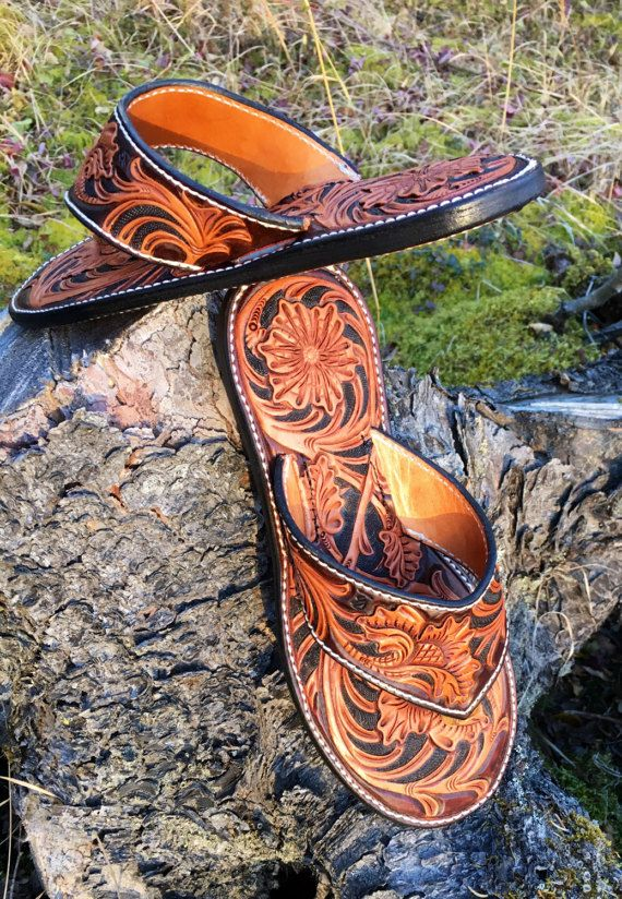 f598bcff4 Hand Tooled Leather Flip Flop