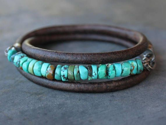 Turquoise Leather Sterling Silver