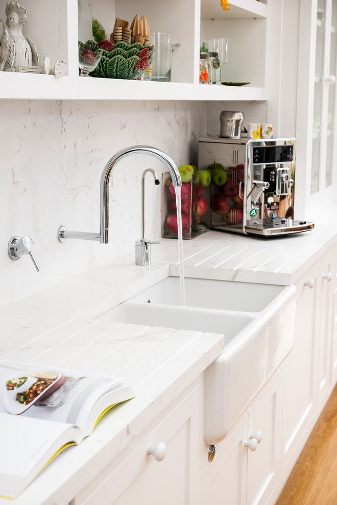 Chic dish drainer in Kitchen Traditional with Sink Without Window ...