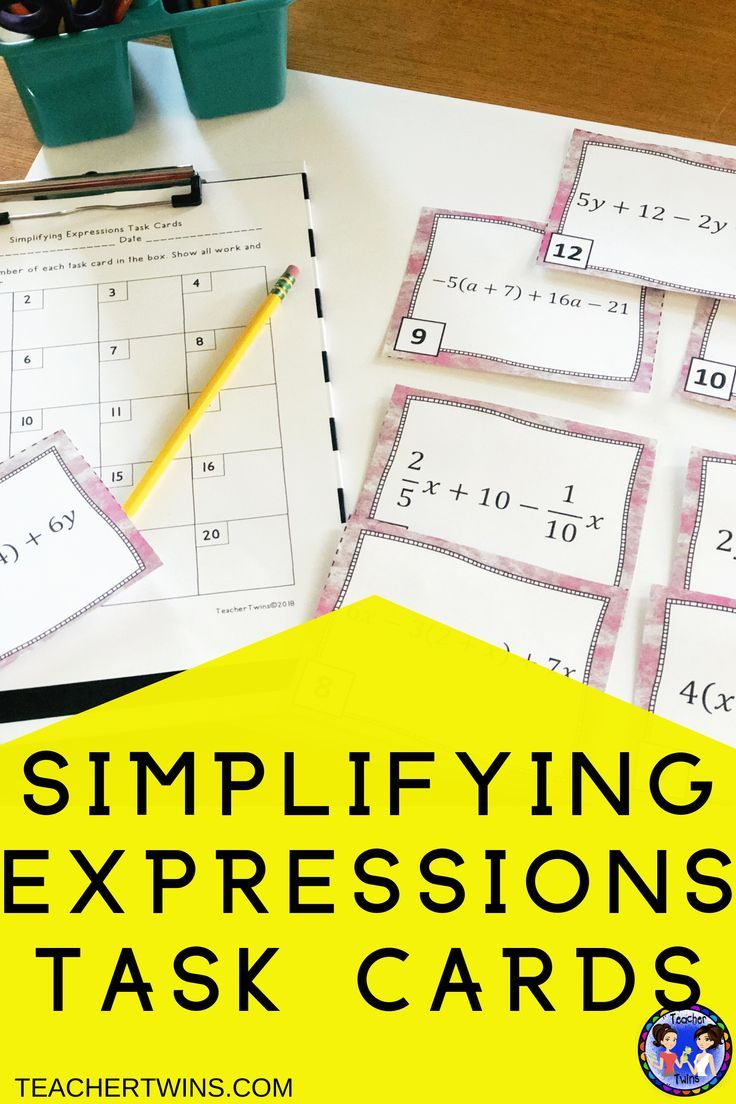 Simplifying Expressions with Rational Numbers Task Cards