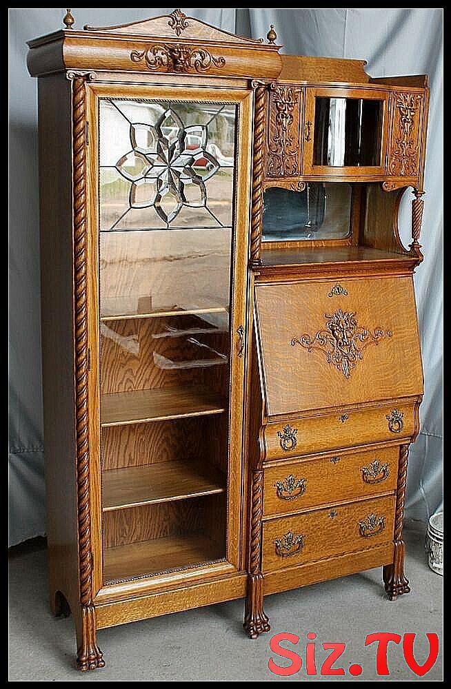 Details about Antique Oak Side by Side Secretary B