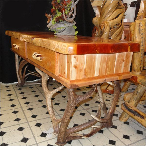 Juniper Sofa Or Hall Table With Elk Antler Base 8 Authentic Antlers 63