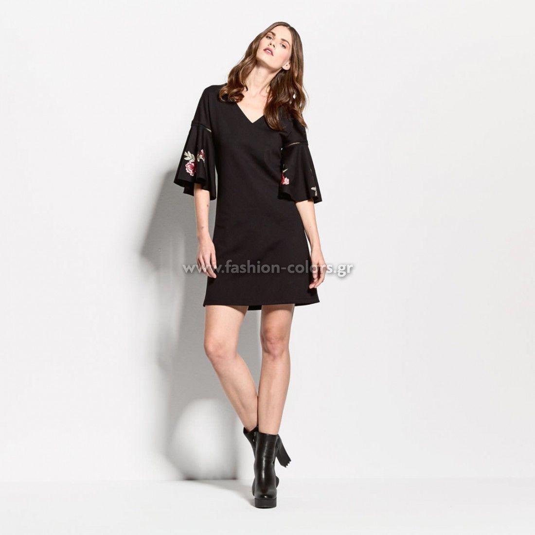 Φόρεμα με κέντημα στα μανίκια fashion-colors.gr