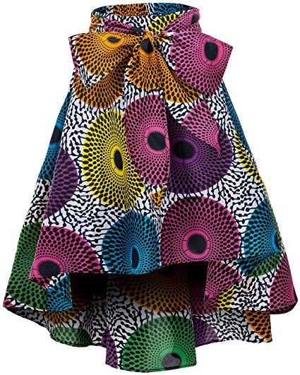 Shenbolen Women African Print Skirt Ankara Maxi Skirts