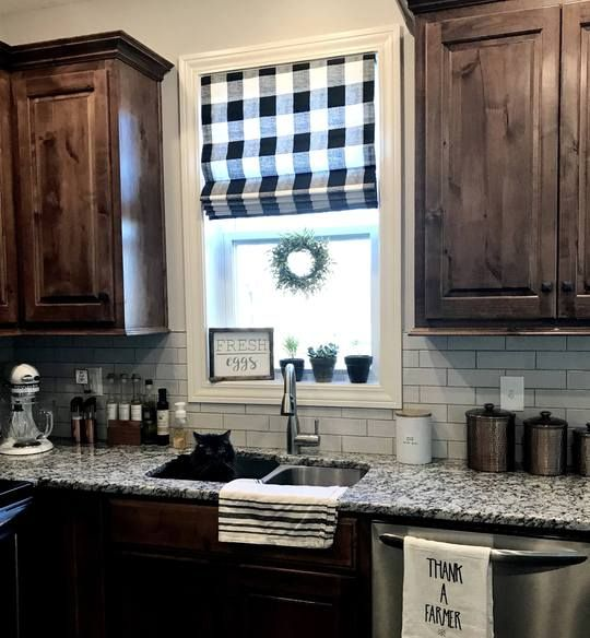 Kitchen Window Furnishings: Modern Farmhouse Roman Shades QUICK SHIP Buffalo Plaid