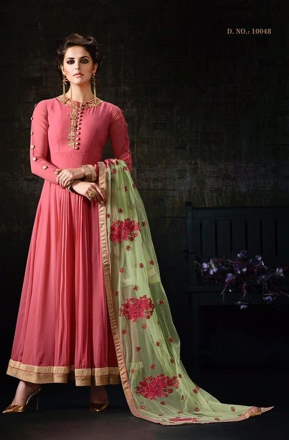 Price @3445.00 INR  Colour : Pink & Sea Green  Top :Apple Georgette  Bottom :Inner With Bottom Santoon  Dupatta :Net  Work :Zari Diamond Resham Ready Lace