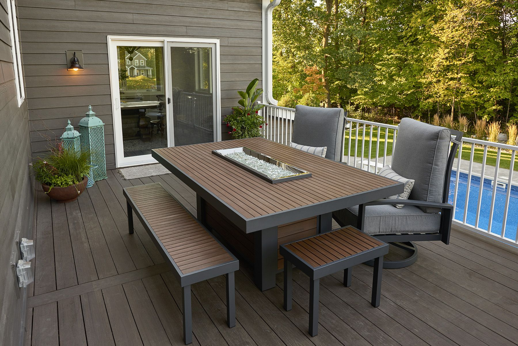 Kenwood Fire Pit Dining Table Features Durable Brown Composite