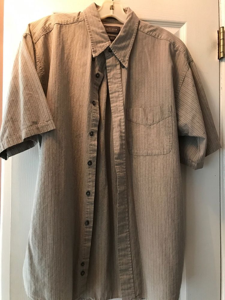 300c8a8a388 Mens Van Heusen L 16-16 1 2 Button Down Tan Striped Short Sleeve Shirt 100%  Cott  fashion  clothing  shoes  accessories  mensclothing  shirts (ebay  link)