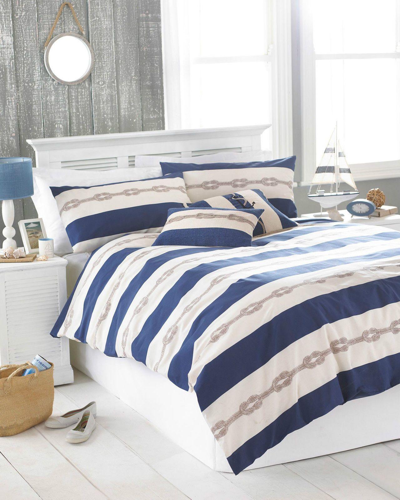 Nautical Theme Striped Duvet Cove Set Navy Blue & Beige