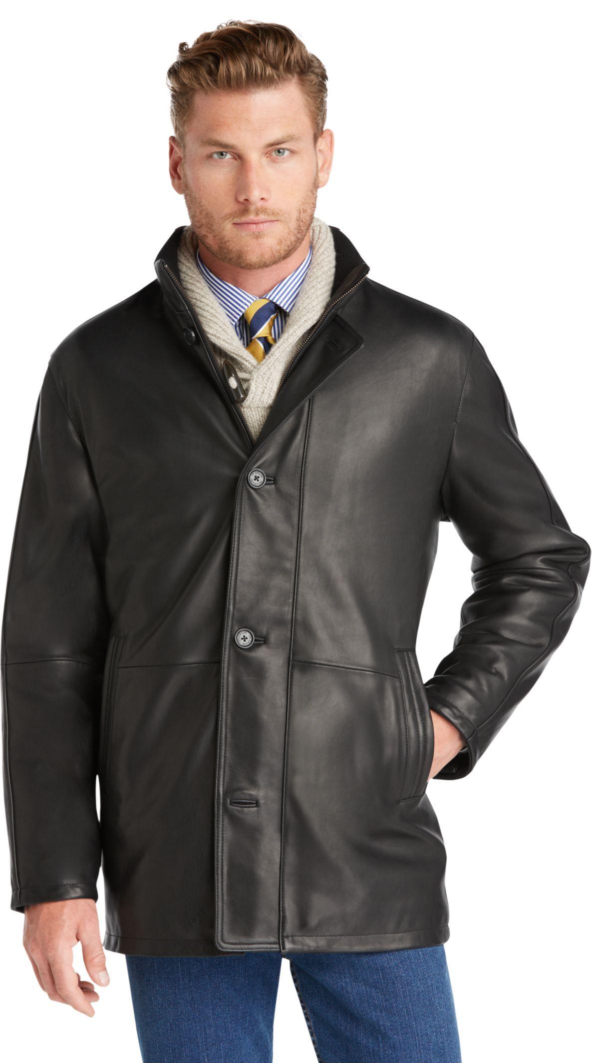 Signature 3/4 Length Leather Car Coat Mens leather