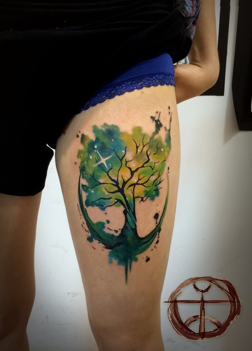 Circular Concept Watercolor Tree Tattoo Design But On Lower Leg
