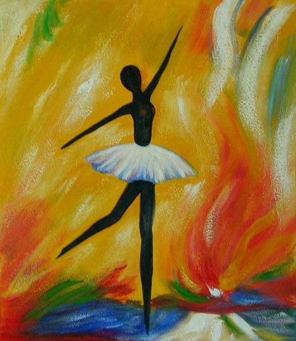 Oil Painting On Canvas Hand Painted Happy Ballet Dancer