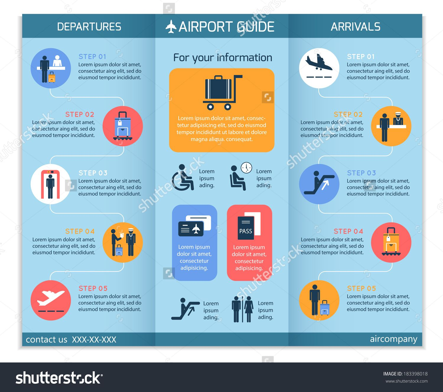 Airport business infographic brochure template with
