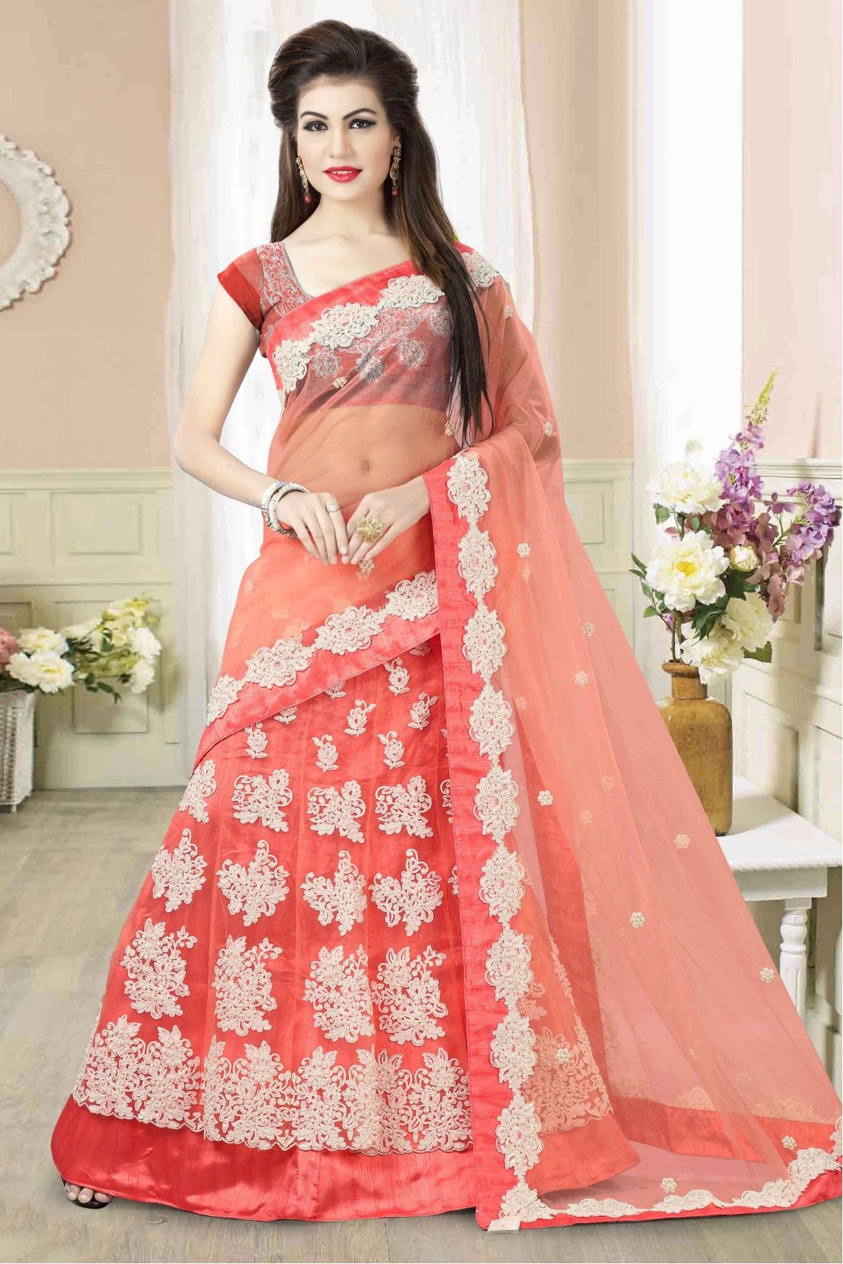 c625c7590b The Stylish And Elegant Lehenga Choli In Peach Colour Looks Stunning And  Gorgeous With Trendy And