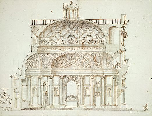 Stone Elevation Drawing : San carlo alle quattro fontane interior elevation