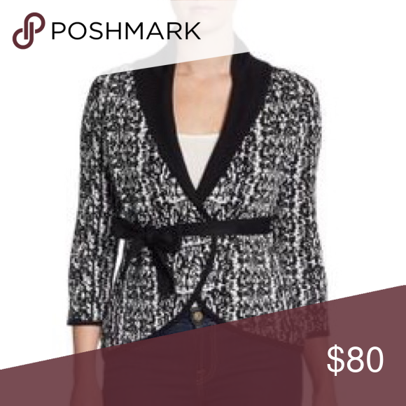 NEW BCBGMaxAzria Printed Wrap Cardigan Brand new! Never worn. Black and white BCBGMaxAzria Printed Wrap Cardigan. Quarter sleeve. Belt optional. BCBGMaxAzria Sweaters Cardigans