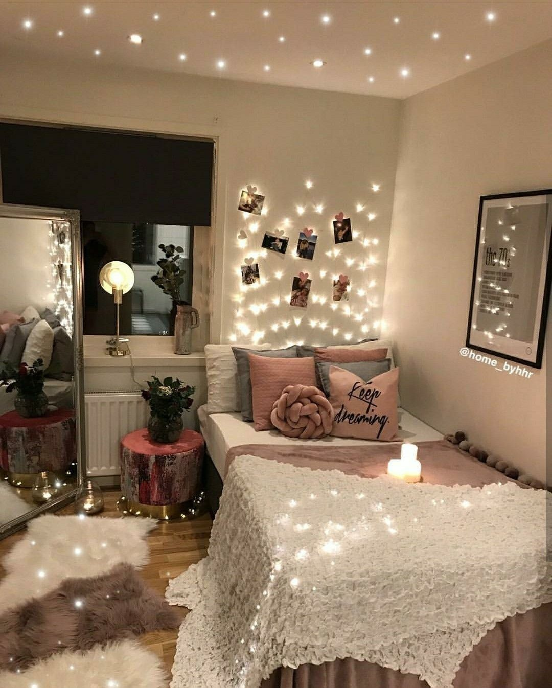 Luxury Bedroom Ideas For Small Rooms Cozy Pink This Is So Aesthetically Pleasing I Love The P In 2020 Dorm Room Lights Cozy Bedroom Lighting Aesthetic Bedroom
