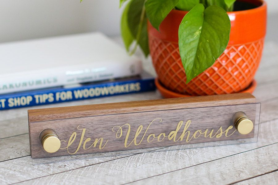 Make a chic walnut and acrylic DIY desk name plate with Sharpie oil based paint pens. Tutorial by Jen Woodhouse