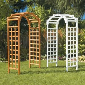 White Arch 84 In X 48 In Outside Wooden Garden Arbor