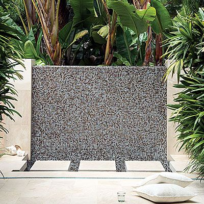 Fountain Wall, instead of tile it would look so pretty with some sort of textured rock!!