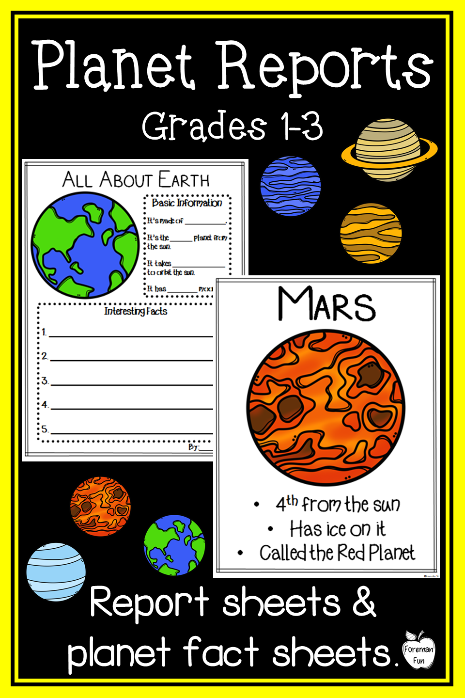 Planet Research Project ~ Posters & Report Sheets ~ Grades ...