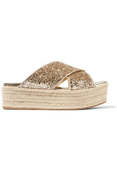 MIU MIU Glittered Leather Espadrille Platform Sandals. #miumiu #shoes #flats
