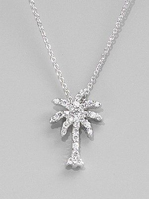 Roberto coin diamond 18k white gold palm tree necklace saks roberto coin tiny treasures diamond 18k white gold palm tree pendant necklace aloadofball Image collections