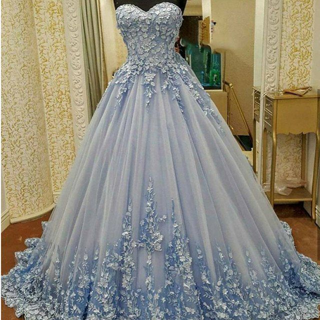 Lovely lace appliques sweetheart light blue ball gowns for Light blue lace wedding dress