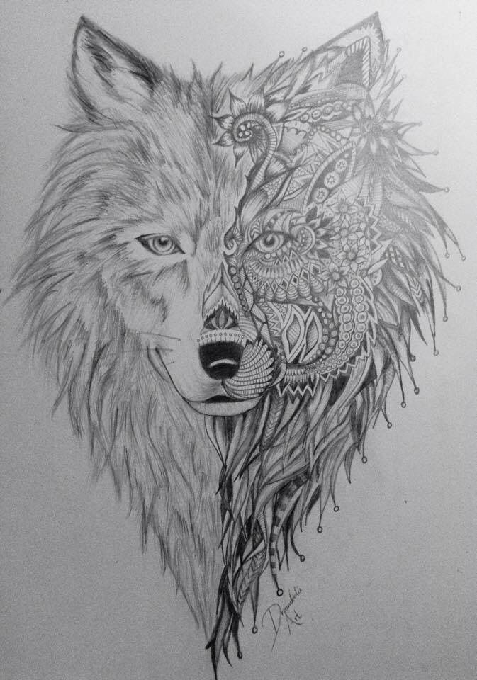 Wolf for sleeve   Ink   Tribal lion tattoo, Tribal lion ...