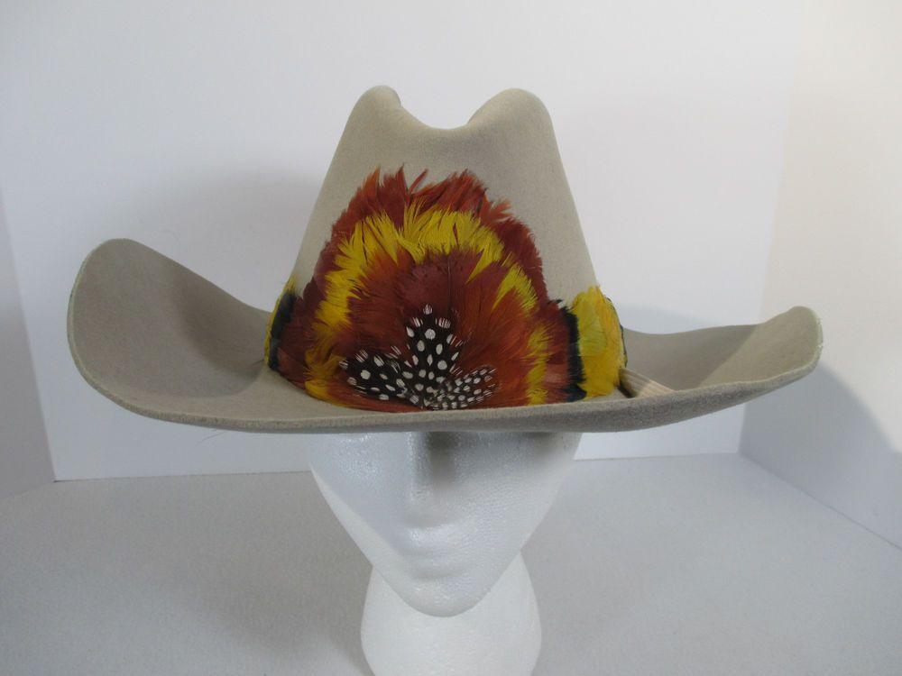 Cowboy Hat Trail Boss Tan Perma Felt Fur Blend Yellow Orange Feather Band 7  1 8  TrailBoss  Cowboy  Casual bd419afe159
