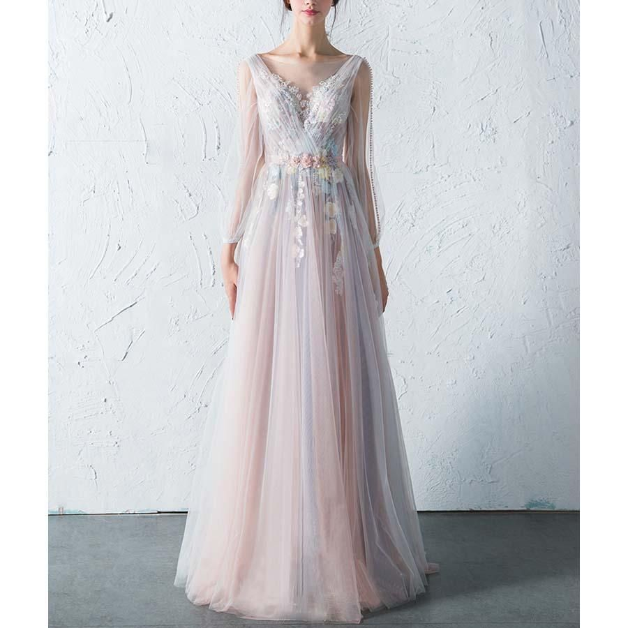 Affordable long sleeves charming unique v back long prom dresses