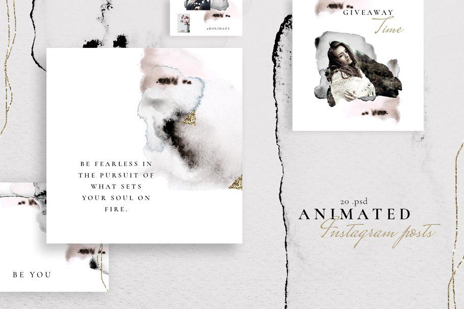 Ad: ANIMATED Instagram posts -Watercolor by CreativeFolks on Creative Market. In...
