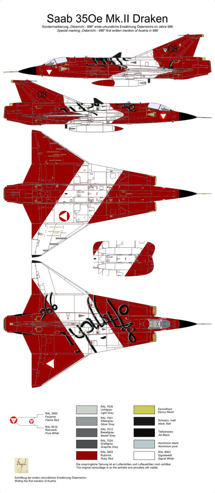 J 35Ö Mk Ii Draken Ostarrichi 996 Color Profile And Paint Guide Added Aircraft Painting Military Graphics Fighter Jets