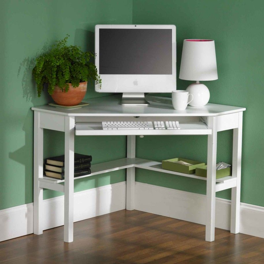 Levin Corner Computer Writing Desk With Convenient Storage Shelf And Spacious Keyboard Tray Made W Manufactured Wood In Painted White Finish H X D