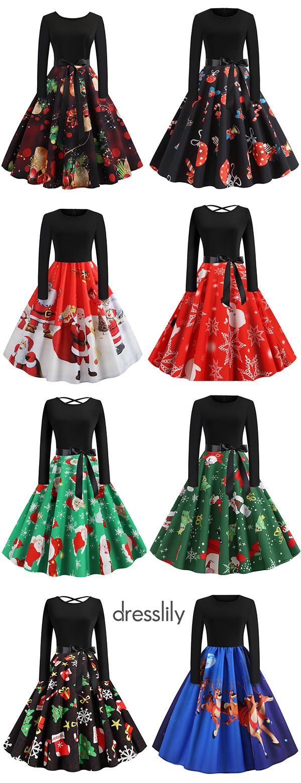 Vintage Dresses for Christmas Party Christmas Dresses with Long Sleeves & Printed Patterns #thanksgivingoutfitswomen
