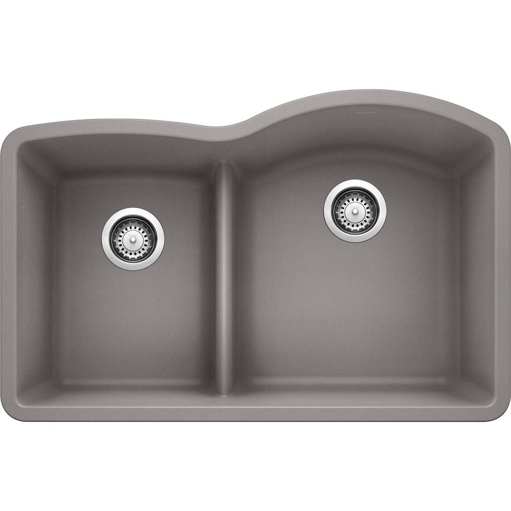 Blanco Diamond Undermount Granite Composite 32 In 40 60 Double Bowl Kitchen Sink With Low Divide In Metallic Gray 441601 The Home Depot In 2021 Undermount Kitchen Sinks Silgranit Sink Double Bowl Kitchen Sink